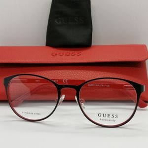 Brand New Authentic Guess Eyeglass GU3011Blk/Red